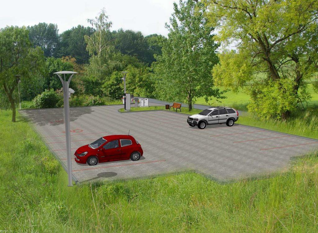 Parking P&R przy stacji kolejowej w Dziadówkach (Pstroszycach I) - wizualizacja