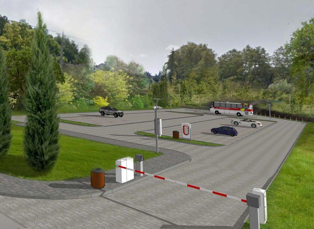 Parking P&R przy stacji kolejowej w Kamieńczycach (Jaksicach) - wizualizacja