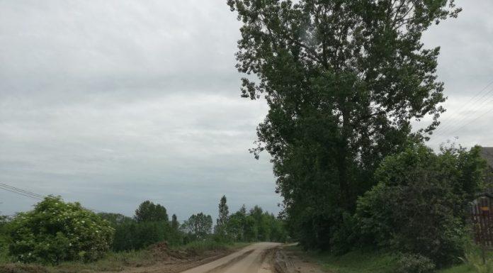 Fragment drogi powiatowej w gminie Słaboszów